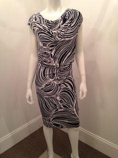 Click to shop - ESCADA NAVY PRINT DRESS, SIZE 36