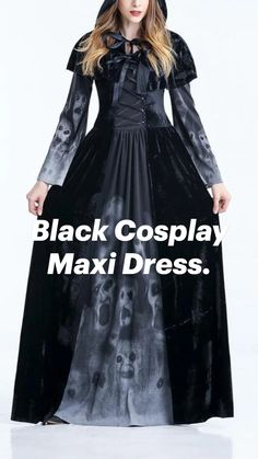 Cosplay Dress, Cosplay Makeup, Maxi Dress With Sleeves, Mehndi Designs, Party Dress, Prom Dresses, Long Sleeve, Black, Fashion