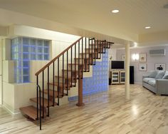 Vintage Basement Design Ideas, Pictures, Remodel and Decor Glass Blocks Wall, Glass Block Windows, Wall Design, House Design, Basement Bar Designs, Basement Ideas, Glass Brick, Stairs, Interior