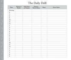 Printable Diaper Feeding Form | Day in the Life: Daily Log for Baby Care