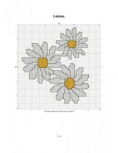 free cross stitch pattern of daisies.