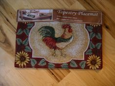 """Rooster Sunflowers Kitchen Placemat Set Farm Decor Linens Country by pp international. $16.99. size 13x19. INCLUDES 4 PLACEMATS. This set of Rooster Sunflowr placemats are perfect for a farm themed kitchen. The set includes 4 placemats and they are machine washable. Wonderful quality and nice coloring. They measure 13"""" tall by 19"""" wide."""