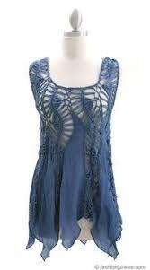 Resultado de imagen para Denim Blue Womens Crochet Top Kimono Sleeve Striped Hairpin Crochet Pattern