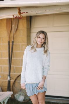 'Chester Jumper' (Colour: Cloud) made in Australia with 100% merino wool, by Jude Australia Knitwear. Available from http://www.judeaustralia.com/product/chester-jumper-cloud/ #wool #merino #AustralianMade #JudeAustralia #jumper #winter