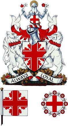 The St. George's Society of Toronto  was granted its coat of arms by the Canadian Heraldic Authority in 2002.  The shield, white with a red cross and half maple leaves, refers to the traditional symbol of St. George and is the first time maple leaves have been used in this way.