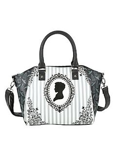 """Stay peculiar.<br><br>Bag from Miss Peregrine's Home for Peculiar Children with a striped filigree cameo design with a bird cage and bird print on the sides. Inside has zipper pocket. Zipper closure.<br><br><ul><li style=""""LIST-STYLE-POSITION: outside !important; LIST-STYLE-TYPE: disc !important"""">14 1/2"""" x 4"""" x 10""""</li><li style=""""LIST-STYLE-POSITION: outside !important; LIST-STYLE-TYPE: disc !important"""">Adjustable, removable crossbody strap</li><li style=""""LIST-STYLE-POSITION: outside…"""