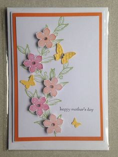 Handmade Card   Mother s Day   Stampin Up   Orange Flowers