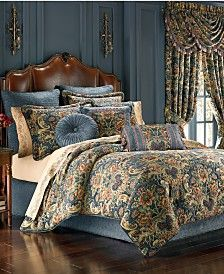 Dress your bed in opulence with the one-of-a-kind J. Queen New York Cassandra Comforter Set. The lavish bedding is beautifully embellished with a woven chenille floral pattern in teal, shades of gold and accents of ruby red and bronzed orange flowers. Bedroom Comforter Sets, Comforters, Chic Bedroom, Bed, Romantic Master Bedroom, King Comforter Sets, Home Bedroom, Beautiful Bedding, Bedding Sets
