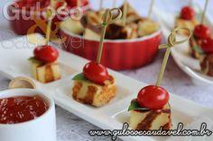 Receita de Aperitivos de Queijo Coalho com Tomate Cereja