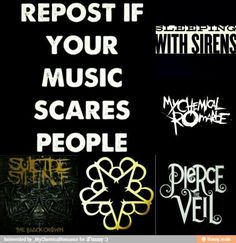 Yeah.. people were scared of me cause of me cause of my BVB shirt, and pulled their little kids closer to them and held their hands till they got past me. it sorta hurt but was sorta funny.<<a lot of people are to say the truth.