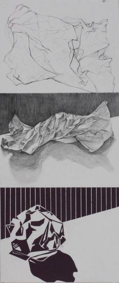 Image 28 - 8.5 x 33 Graphite Pencil, black construction paper A nice triptych idea.
