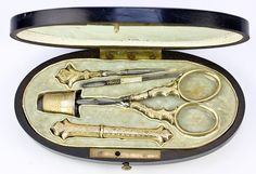 Another one, these are so cool! ...and expensive. 1850 French made sewing or embroidery tools set in .800/1000 pure French