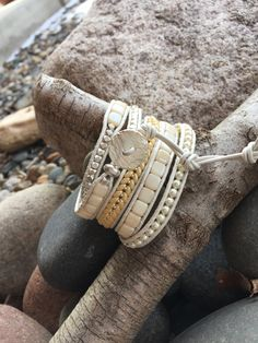 Debra Levens jewelry Design Leather beaded 5 wrap bracelet Diy Bracelets And Anklets, Diy Beaded Bracelets, Cord Bracelets, Beaded Jewelry, Handmade Jewelry, Beaded Leather Wraps, Nose Jewelry, Hippie Jewelry, Cheap Jewelry