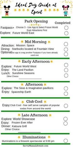 EPCOT PARK ITINERARY: Print this FREE guide to Disney's Epcot to help plan your perfect park day! Navigate the layout, festivals, and diverse attractions of the park, with this Epcot Itinerary! Plus, print a FREE Epcot planning guide for your day. Disney World Vacation Planning, Walt Disney World Vacations, Disney Parks, Disney Travel, Family Vacations, Disney Bound, Cruise Vacation, Disney Cruise, Disney Planning Binder