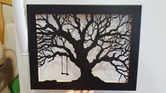 Tree cut out canvas with swing