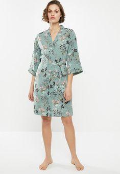 Above-the-knee length. Sleepwear Women, Lingerie Sleepwear, Hip Bones, Body Measurements, Wrap Dress, Floral Prints, Printed, Green, Sleeves