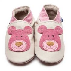 Cream Baby Girls Shoes with Pink Bear Motif by Inch Blue £15.00