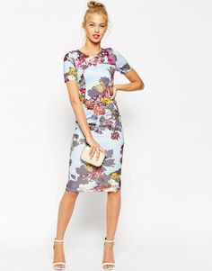Image 1 of ASOS Floral Print Scuba Body-Conscious Dress
