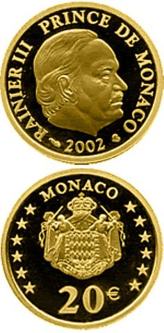N♡T.20 euro: Prince Rainier III.Country: Monaco Mintage year: 2002 Face value: 20 euro Diameter: 21.00 mm Weight: 6.41 g Alloy: Gold Quality: Proof Mintage: 3,500 pc proof