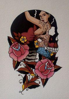 Ideen Tattoo Traditioneller Old School Schädel - Ideen Tattoo Traditio. - Ideen Tattoo Traditioneller Old School Schädel – Ideen Tattoo Traditioneller Old School - Dessin Old School, Old School Ink, Traditional Tattoo Old School, Traditional Tattoo Flash, Old School Tattoo Designs, Best Tattoo Designs, Desenhos Old School, Tatuagem Old School, Skull Tattoo Design