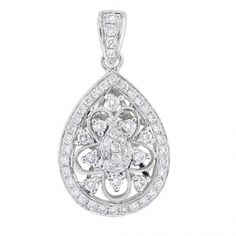 BF1688 - #26163  18 k white diamond pendant 0.37 ct rounds (please call for price)