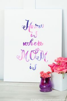 Celebrate MOM DIY Mother's Day Gift Idea - Watercolor Word Canvas | Kara Allen | KarasPartyIdeas.com