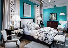 Teal, black, and white...love! | fabuloushomeblog.comfabuloushomeblog.com