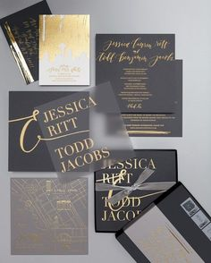"After toying with the ""out of left field"" idea of leather invitations, the couple chose triple-thick custom card stock stamped with gold foil designed by La Happy."