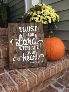 Trust in the Lord with all Your Heart Hand Painted Rustic Sign, Bible Verse  Wall Decor by SignsfromthePines on Etsy (null)