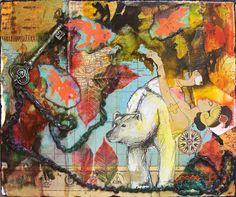 mixed media collage - Is the Key by Carly Swenson