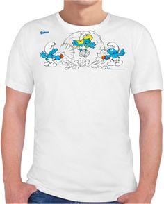 Şirinler - İp Atlamaca - Kendin Tasarla - Erkek Bisiklet Yaka Tişört