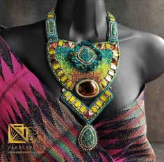 """TEAL n' SUNSET AMBER """"Chanel in the Topics"""" Necklace/ Bead Embroidery/ Swarovski Crystal Neckpiece/ Statement Necklace"""