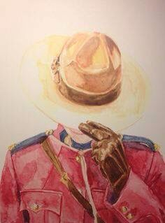 Stand Easy Original Canadian Mounted Police Print by NicolaMacNeil Canadian Things, I Am Canadian, Canadian History, Police Tattoo, Watercolor Print, Watercolor Paintings, Jack And Elizabeth, Canada Day, Cool Posters