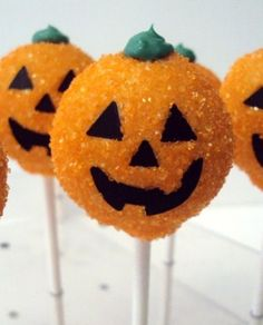 Great Pumpkin Cake Pops Ingredients: Black Velvet cake, cooked and cooled (see recipe below) Cream Cheese frosting (see recipe below) orange candy melts Black fondant Green icing Orange...