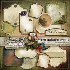 Warm Autumn Winds ~ Journaling Mats ~ by Jumpstart Designs Digital scrapbook kits $