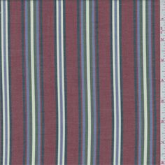 Brick red, olive green, navy, purple periwinkle and cream stripe. This lightweight cotton fabric has an oxford looksoft hand.Compare to $10.00/yd