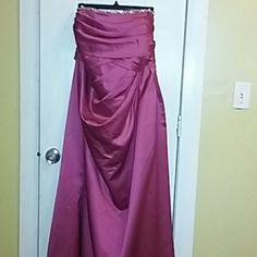 Sale!Gorgeous strapless plus size gown size 24 Absolutely gorgeous strapless  plus size wine colored gown from Davids bridal/ has diamond like stone detail around top and zipper in back I bought it for a cruise but it would be stunning for prom or bridesmaid dress also ☺ David's Bridal Dresses Prom