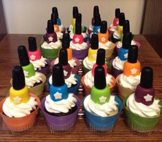 Cupcakes with fondant nail polish bottle toppers! So adorable and delicious! By the wonderful Cakes by Tracy and Malloree Birthday Party Snacks, Snacks Für Party, Party Treats, Cake Birthday, Birthday Ideas, Fun Cupcakes, Cupcake Party, Cupcake Cakes, Cupcake Ideas