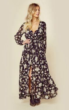 bb777cfd1482 Long Sleeve Floral Printed Maxi Dress