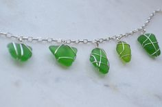 Green Sea Glass Wire Wrapped Bracelet 7 & 1/2 inches, Green Mermaid Jewelry, SeaSide present for Beach loving mermaids, Gulf of Mexico gifts