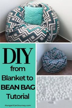 How to make a bean bag chair out of old blankets Turn Any Old Blanket Into a convertible Bean Bag Chair. Use this DIY bean bag chair tutorial to transforms old baby blankets and sheets into a fun sleepover item. Make A Bean Bag Chair, How To Make A Bean Bag, Diy Bean Bag, Bean Chair, Big Bean Bag Chairs, Diy Home Decor Rustic, Diy Home Decor On A Budget, Easy Home Decor, Handmade Home Decor
