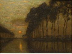 """""""The Bruges Canal, Belgium,"""" Charles Warren Eaton, ca. 1900-10, oil on board, 12 x 15 3/4"""", private collection."""