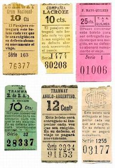 old bus tickets.
