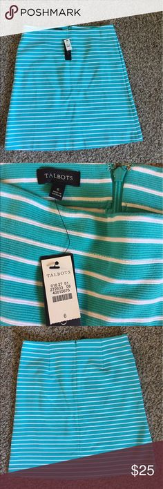 "Talbots BNWT skirt Brand new Talbots black label skirt in turquoise with white stripes. Perfect condition. Waist is 16.5"" across and length is 21.5"". No slit in back, stretchy material and this skirt has POCKETS! Talbots Skirts A-Line or Full"