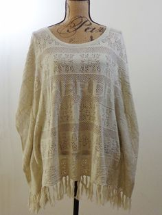 ART TO WEAR Lagenlook Superdry sweater artsy ivory artsy quirky designer sz OS #Superdry #Sweater #EveningOccasion