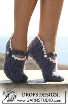 "Zapatillas de ganchillo DROPS en doble hilo ""Alpaca"". ~ DROPS Design"