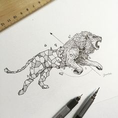 Animal illustrations broken down into geometric shapes