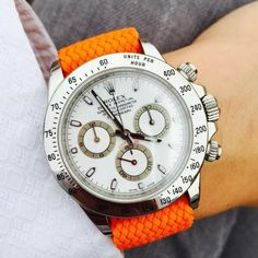 Perlon Strap Orange Color with stainless steel buckle. High quality, durable, water resistant 18 / 20 mm wide. Fast Worldwide shipping! Made in Europe