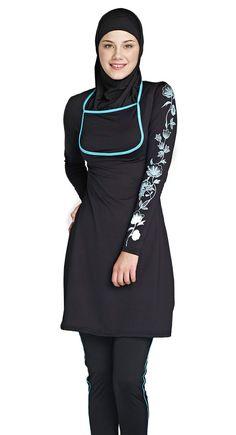 swim-suit Islamic Swimwear, Muslim Swimwear, Swimsuits For Curves, Modest Swimsuits, Boho Swim Suits, Islamic Clothing, Muslim Fashion, Swimsuit Cover, T Shirt