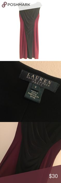 {Ralph Lauren} Maroon and Black Sleeveless Dress Size 6, does have stretch to it! NWOT. All bundles 30% off. Lauren Ralph Lauren Dresses Midi